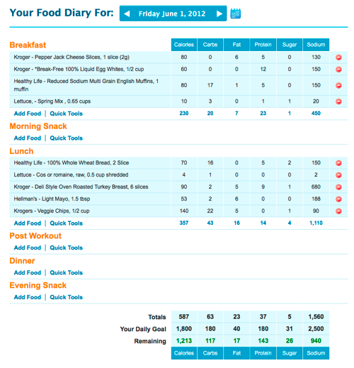 My fitness pal diary