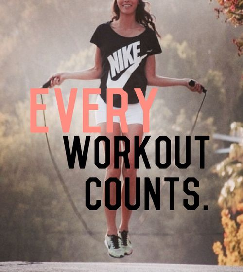 fitness motivation quote - every workout counts