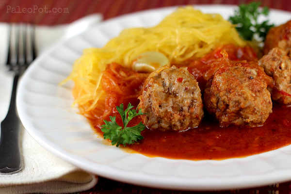 healthy advocare recipes - paleo spaghetti squash and meatballs