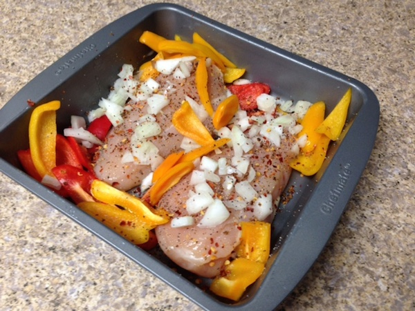 chicken breasts sweet mini peppers white onion salt pepper crushed red ...