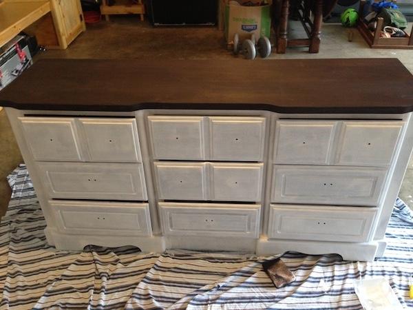 DIY White Painted Dresser last steps