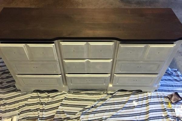 DIY White Painted Dresser paint coats