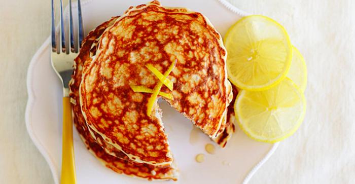 Lemon Chia Seed Protein Pancakes