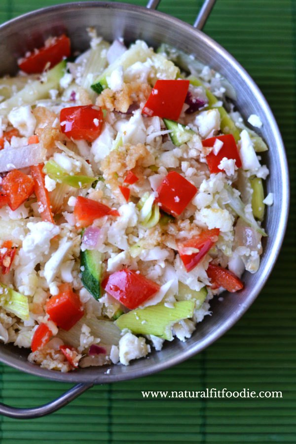 Low carb recipe Cauliflower Fried Rice by food bloggers Natural Fit Foodie