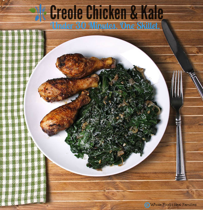 low carb recipe idea Creole Chicken with Sauteed Kale by Whole Food Real Families