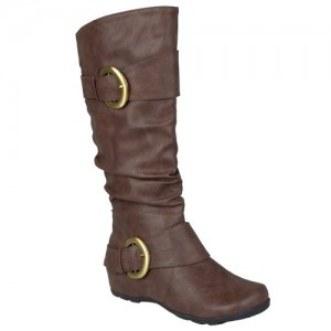 wide calf boot - Brinley Co Buckle Accent Slouchy Mid-calf Boots