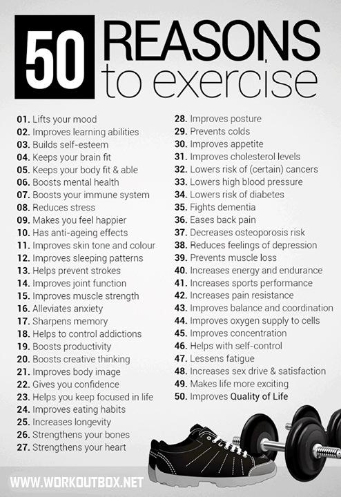 50 reasons to exercise and be fit