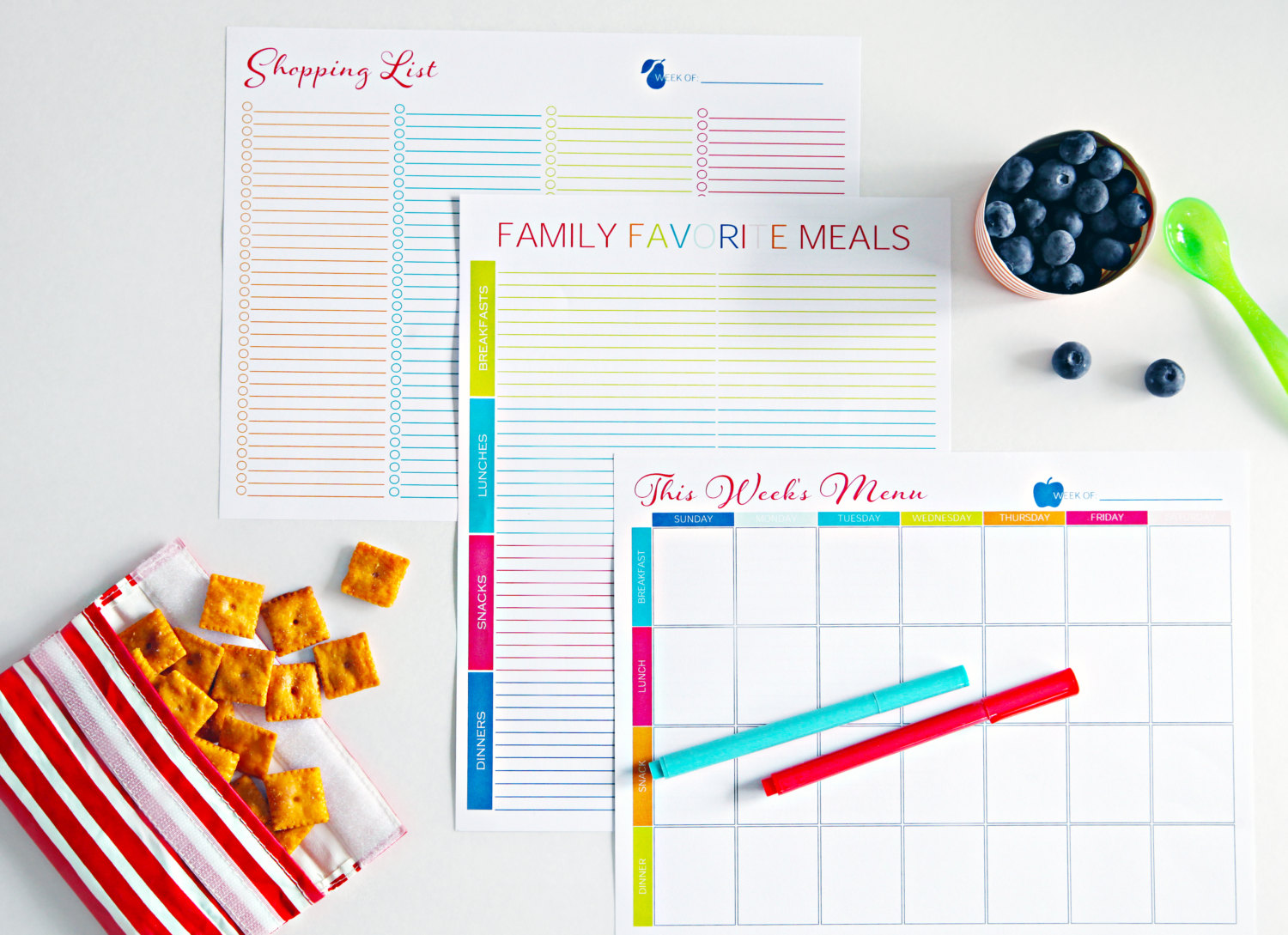 meal planning tools - meal planner printable set