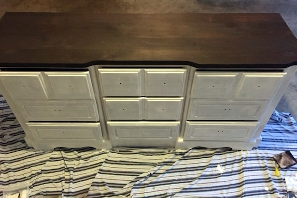 DIY White Painted Dresser paint coats