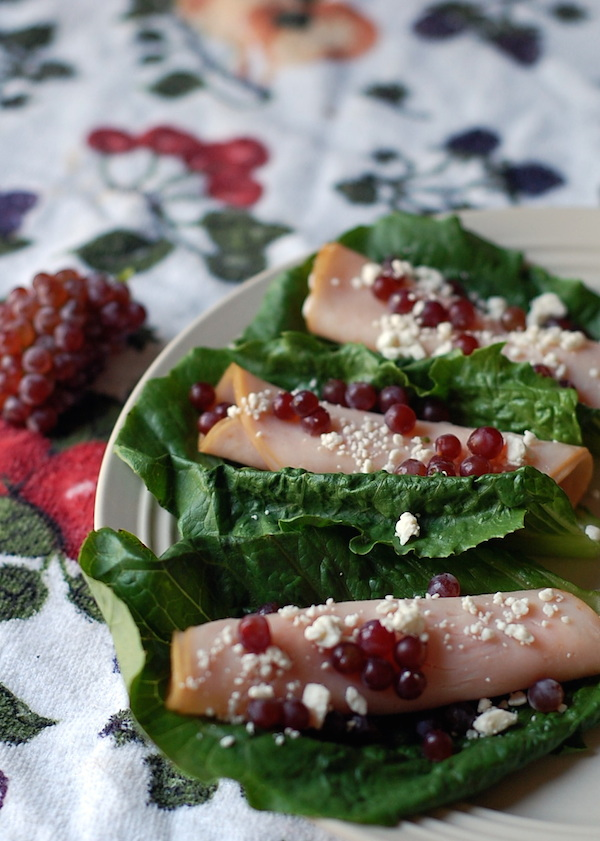 champagne grapes with feta and turkey roll ups