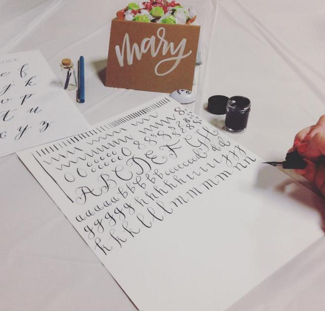 calligraphy class practice