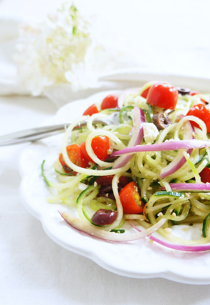 low carb recipe Spiralized Cucumber Greek Salad by food blogger Haute and Healthy Living