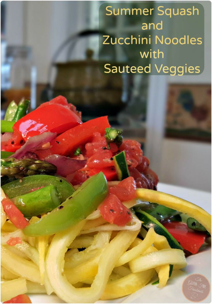 low carb recipe Summer Squash and Zucchini Noodles with Sauteed Veggies by food blogger Gluten Free Foodsmith