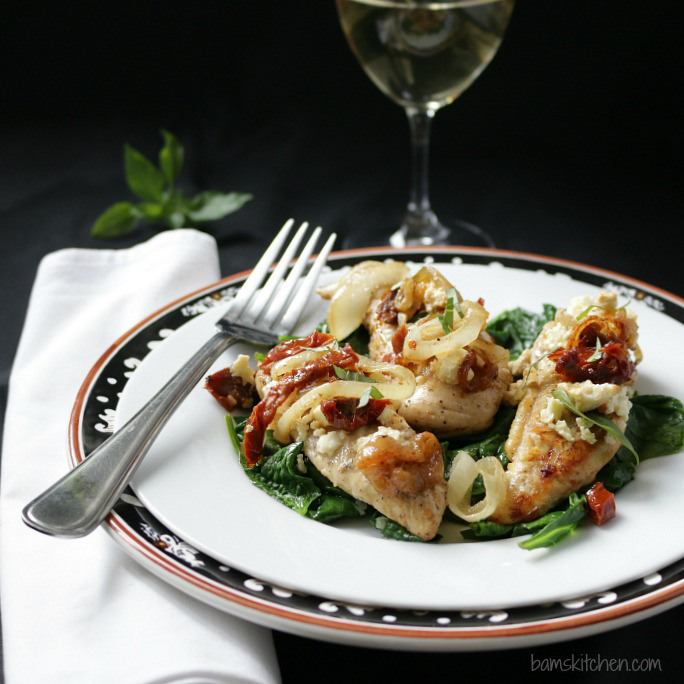 low carb recipe idea Feta and Sun-Dried Tomato One-Pot Chicken by food blogger Bams Kitchen