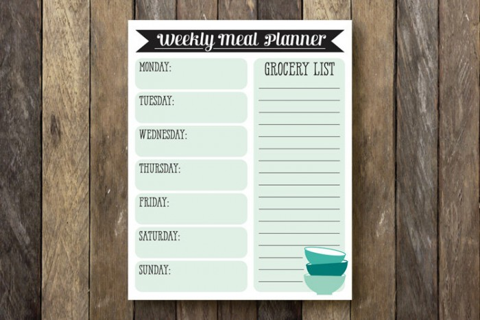 Printable Weekly Meal Planner by The Lion and Lark