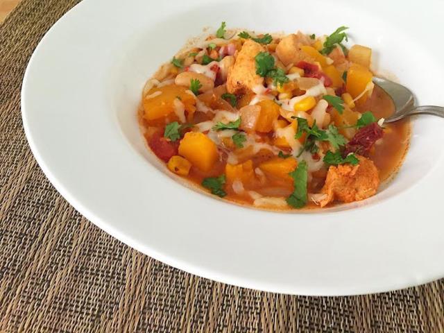 chicken and butternut squash crockpot chili recipe by Everyday Sarah Jane