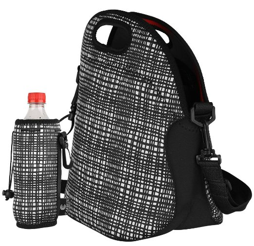 cool adult lunch box - neoprene lunch bag with matching water bottle tote bag