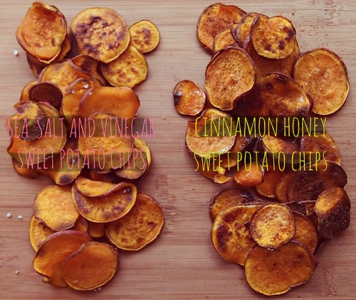 sea salt and vinegar sweet potato chips + cinnamon honey sweet potato chips